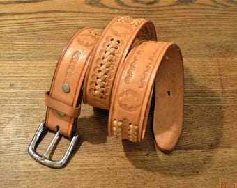 Vintage Leather Belt,size 34 hand tooled engraving design and braided lacing Tan,Light Brown ,Cindilo Mexican, excellent vintage condition