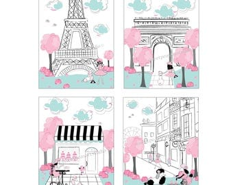 Paris Art Decor, Paris Childrens Decor Paris Art Eiffel Tower, Iconic Landmarks Art Prints, Decor for Girls Paris bedding. Unframed Art