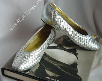 Vintage SILVER Woven Leather Ballet Flats Shoes / Size 6 .5 B Eu 36 .5 Uk 4 / PALOMA made in Italy 1990s