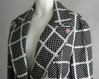 Modish F.A. CHATTA Evening Jacket / size medium 10 12 14 / Metallic Silver Black Brocade Plaid / 1970s Butterfly Collar One Button