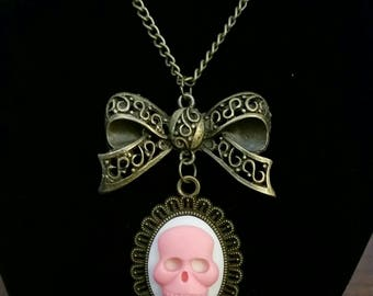 Gothic Lolita Bow Pink Skull Cameo Necklace