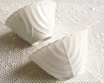 Vintage Porcelain Bowls White Cabbage Leaf Design Asian Decor Dining   Set of 2