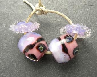 CrazyCatGlass Lampwork Boro Glass Beads Handmade Aglow Round Pair