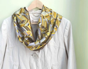 Echo Scarf, Chevron Scarf, Brown Scarf, Abstract Scarf, Pattern Scarf, 1970s Scarf, Vintage Scarf