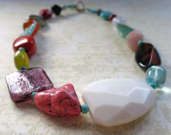 Many treasures necklace short colorful mix of gemstones and beads