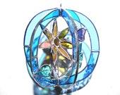 Towards the Sun - Stained Glass 3D Sphere - Mini Sunflower Suncatcher Light Blue Flower Butterfly Nature Handmade Home Decor (READY TO SHIP)