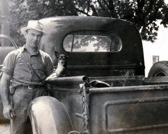 vintage photo 1941 Man w His CHihuahua Dog in His Truck