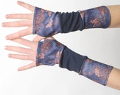 Dark blue fingerless gloves, Blue jersey armwarmers, Patchwork wrist warmers, Long fingerless gloves, Gift for women, MALAM