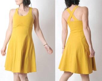 Yellow jersey dress, Yellow cotton dress with crossed straps in the back, Yellow womens dress, Sleeveless yellow dress, Empire waist dress