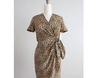 25% OFF SALE silk wrap dress | leopard print dress | short silk dress