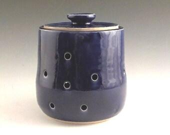 Ceramic Garlic Keeper - Large Pierced Stoneware Shallot Jar - Kitchen Storage - Housewarming Gift - Ready to Ship - Royal Cobalt Blue s499