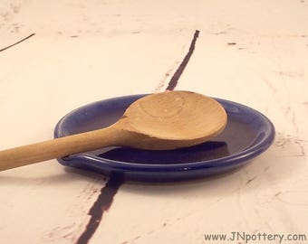 Ceramic Spoon Rest - Handmade Stoneware Kitchen Coaster - Essential Cooks Tool - Trinket or Jewelry Drop - Rustic Kitchen - Royal Blue h475