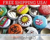 Buttons Pins Set - Random Unique Mix - 1 Inch Small From My Stash