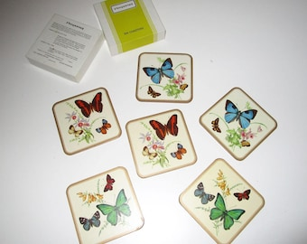 Pimpernel Butterfly Coasters - Set of 6 coasters in original box - Made in England