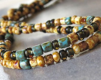 6/0 Turquoise Beige Czech Glass Picasso Seed Bugle Bead Mix : 1 Ten inch Strand