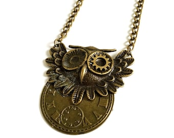 CLOSING DOWN SALE Steampunk Neo Victorian Vintage Watch Bronze Owl Bird Pendant Necklace