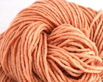 Hand Dyed Aran weight mini Empire Rambouillet Wool 213 yds 4oz Apricot