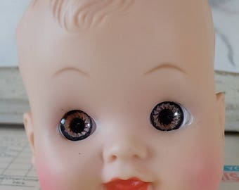 Vintage / Plastic Doll Head / Toddler Boy / Charming Face
