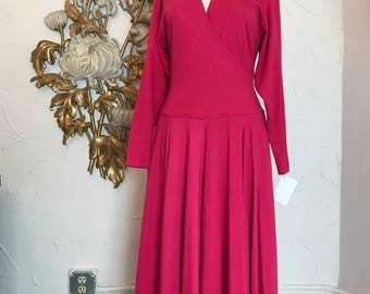 1980s dress wrap dress 80s dress jersey dress size medium magenta dress Fuschia dress Vintage dress cotton dress full skirt dress