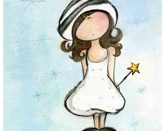 baby girl nursery, make a wish, birthday card, gift for goddaughter, children room wall art, star wand, A4 frame, etsybaby, beilexian