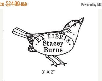 Xmas in July Vintage Sparrow  Personalized Bookplate Rubber Stamp H08