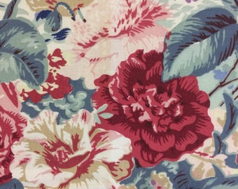 VINTAGE 80s Upholstery FABRIC Laura Ashley 80s shabby pillow cushion cutter upholstery cabbage rose shabby fabric