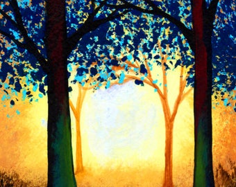 Springer Brittany Spaniel Dog folk Art PRINT of Todd Young painting FOREST LIGHT