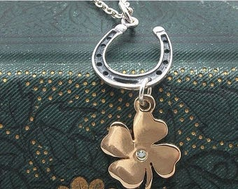 four leaf clover, horseshoe, shamrock, Saint Patricks Day, Irish jewelry, lucky pendant, horse shoe pendant, Equestrian, silver, gold,