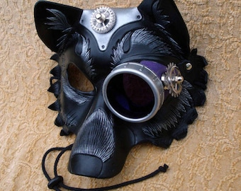 RESERVED for Everett ... made to order leather steampunk wolf mask