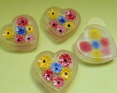 Four Vintage German 18x17mm Heart Painted Glass Cabs (3-34-4)