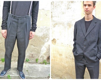 Vintage 1950s taylor made French striped  wool trousers & jacket /men suit