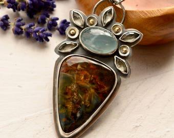 Final Deposit Listing------------------Handmade Aquamarine Necklace, Pietersite Necklace, Oxidized Silver Metalwork