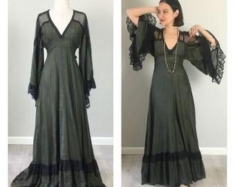 Vintage 70s Gunne Sax Maxi Goth dress   Small