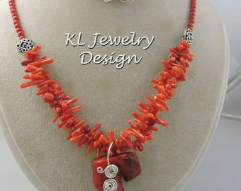 Red Cupolini Coral Necklace, Earrings, and Pendant  Set
