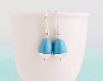 Sky Blue Earrings - Sterling Silver Earrings - Dangle Earrings - Simple Earrings - Beaded Earrings - Classic Style - Silver Drop Earrings