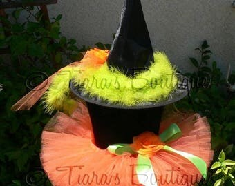 "SUMMER SALE 20% OFF Witch Tutu Costume Halloween - Penelope, the Pumpkin Witch - Orange Sewn 6"" Tutu and Decorated Witch Hat - sizes up to 1"