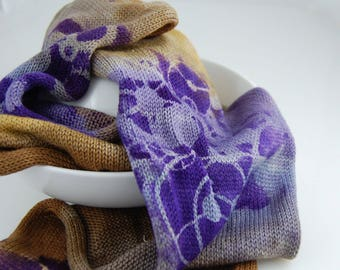 Single Knit Sock Blank -Brass Octopus- brown,mustard,silver and lavender understripes with purple machine piece stencil