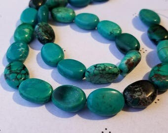 Green turquoise flat oval 7 inch