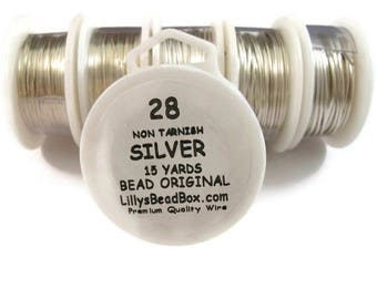 Summer SALEabration - Silver Plated Wire - 28 Gauge Wire for Making Jewelry, Non Tarnish Wire, Wire Wrapping Supplies, Thin Round Wire for B