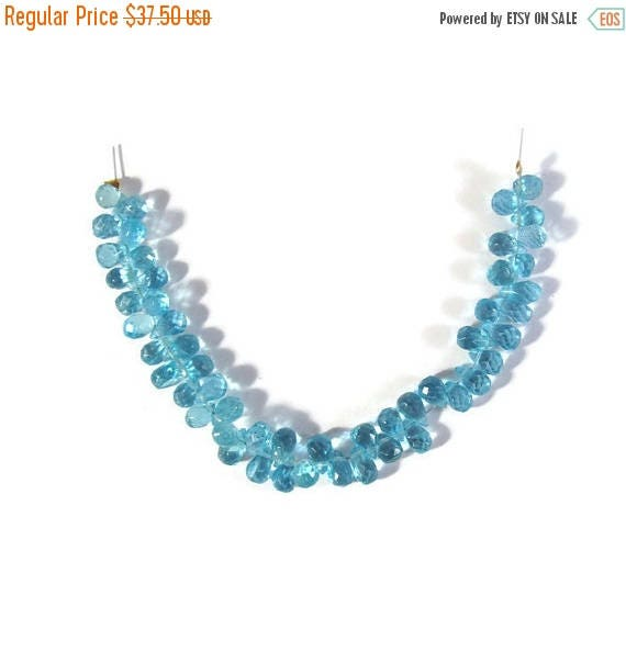Summer SALEabration - Aqua Apatite Beads, Faceted Briolette Teardrops, Four Inch Strand of Tiny Gemstones for Making Jewelry, 5x3mm - 6x4mm