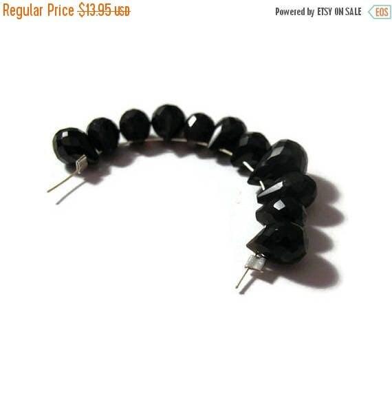 Summer SALEabration - Black Spinel Briolette Beads, Set of 11 Natural Gemstone Beads, 7.5mm x 5mm - 9.5mm x 7mm (B-Sp1)