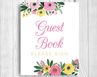 Guest Book Please Sign 5x7, 8x10 Printable Bridal Shower or Baby Shower Guestbook Sign - Pink and Yellow Watercolor Flowers