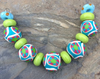 Set of Handmade Glass Beads With Handmade Polymer Clay Beads For Jewelry Making and Design