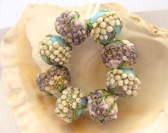 8 Enameled Floral Handmade Lampwork Beads