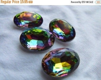 SALE 30% Off Iridis Vitrail 18x13mm Oval Faceted Glass Jewels 4 Pcs