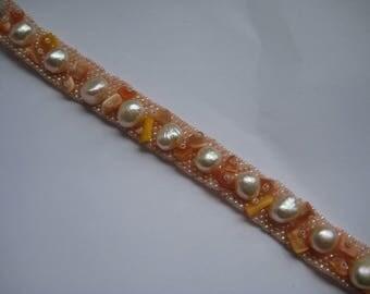 Cuff Bracelet, Hand beaded bracelet in Peach
