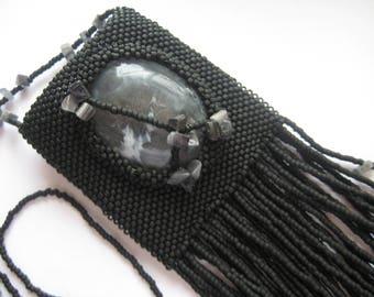 Hand beaded Medicine Bag Necklace, Amulet Bag in Matte Black