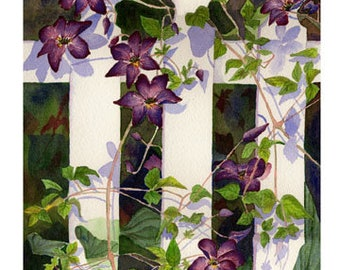"Set of 10 Floral Greeting Cards ""Clematis Watercolor"""