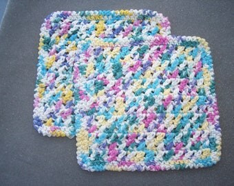 2 handmade cotton crochet washcloths dishcloths  -- 1944