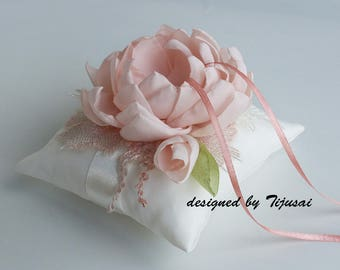 Wedding ring pillow with pink flower and embroiderings--- wedding pillow, ring bearer pillow, ring cushion, ready to ship
